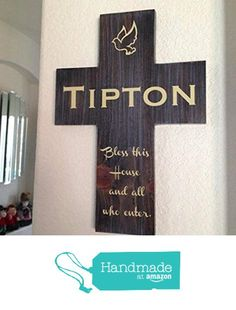 Personalized last name wall cross handmade gift with Bless this House and all who enters. Handmade in the USA from Frame Your Story Shop https://www.amazon.com/dp/B01CXAP6VM/ref=hnd_sw_r_pi_dp_3YJpybT8K41X6 #handmadeatamazon