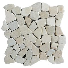 Rain Forest stone mosaic pebble tiles White x Honed Pebble Mosaic Floor Tile at Lowe's. Rain Forest white stone mosaic pebble stone floor and wall tiles incorporate smooth beautifully polished mixed pebbles mounted to a flexible mesh backing. Pebble Stone Flooring, Pebble Floor, Tile Floor, Pebble Mosaic Tile, Limestone Wall, Traditional Tile, Color Tile, Colour, White Stone