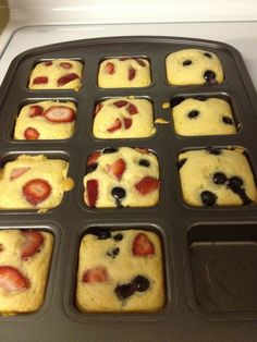 Fruit pancakes with syrup already in it!  No mess using the new brownie pan!