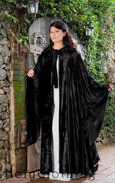 Avalon Renaissance Velvet & Satin Medieval Sleeved Cloak Cape - Dresses