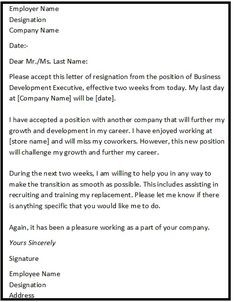 """Resignation Letter Format with reason describing the reason of resignation as """"Reason For Further Growth Prospects"""""""