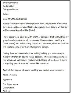 professional resignation letter format - Tutlin.ayodhya.co