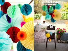 tissue paper decorations  - the large flat ones for talking flowers