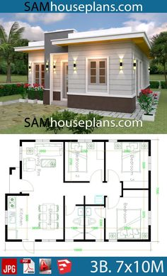 House Plans 7x10 with 3 Bedrooms with terrace roof - Sam House Plans