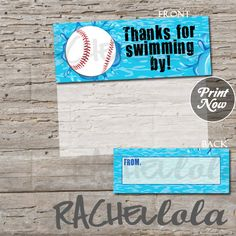 Baseball Pool Party, printable favor bag or goodie bag label, INSTANT DOWNLOAD