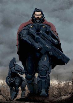 Artstation - next-gen hunter, ilya shenk Futuristic Armour, Futuristic Art, Space Fantasy, Sci Fi Fantasy, Armor Concept, Concept Art, Character Concept, Character Art, Science Fiction