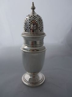 Antique English Sterling Silver Sugar Caster Shaker Muffineer #BarkerBros