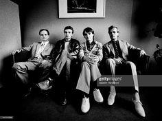 German group Kraftwerk posed in Rotterdam, Netherlands on 21st March 1976. L-R Florian Schneider, Karl Bartos, Wolfgang Flur and Ralf Hutter.