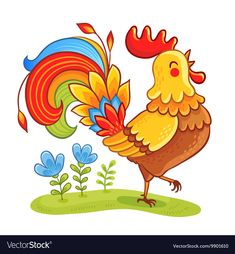 Find Rooste Cute Cartoon Rooster Vector Illustration stock images in HD and millions of other royalty-free stock photos, illustrations and vectors in the Shutterstock collection. Thousands of new, high-quality pictures added every day. Rooster Illustration, Chicken Illustration, Illustration Cartoon, Rooster Vector, Rooster Art, Easy Drawings For Kids, Art For Kids, Cartoon Drawings, Animal Drawings