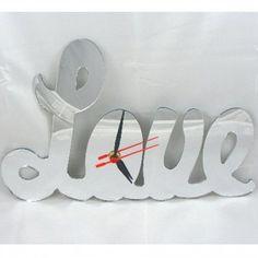 Acrylic Love Clock Mirror 35cm X 18cm