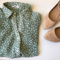 Mint Green Polka Dot Semi-Sheer Button-Down Top Semi-sheer, mint green top with white polka dots from Papaya. So cute and quirky. Looks amazing with a skirt or high-waisted shorts. Fits size small. Great condition. Papaya Tops Button Down Shirts