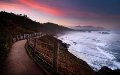 Morning, Ecola State Park, Cannon Beach, Oregon-frequent spot for hiking and beach combing. Oregon Coast Hikes, Oregon Beaches, Ecola State Park, Oregon Living, Cannon Beach, Pathways, West Coast, State Parks, Places To Visit