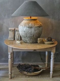 Gate leg table and rustic pot lamp Home Interior, Interior And Exterior, Interior Decorating, Interior Design, Home And Deco, Rustic Interiors, Decoration, Vignettes, Home And Living