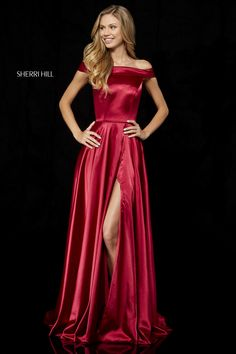 Sherri Hill 52351 Silk charmeuse gown with off-the-shoulder neck, slit skirt and open back with bow. Sherri Hill Prom Dresses, Grad Dresses, Event Dresses, Dance Dresses, Ball Dresses, Homecoming Dresses, Cute Dresses, Ball Gowns, Formal Dresses