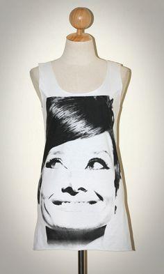 Audrey Hepburn White Vintage Tank Top Sleeveless Hollywood / Artist T-Shirt Size S