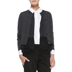 Brunello Cucinelli Women's Layered Flutter-Hem Combo Cardigan