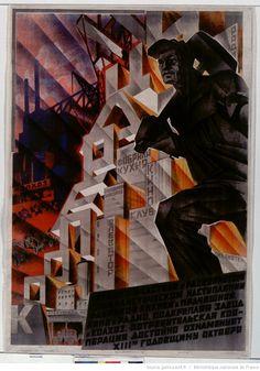 1930. [Affiche russe] [représentant un travailleur marteau sur l'épaule, sur fond d'usines ] : [affiche] / [non identifié]. Russian poster depicting a worker with hammer on his shoulder in front of a factory.