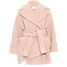 Carven Pink Oversize Asymmetric Wool-Blend Coat ($910) ❤ liked on Polyvore featuring outerwear, coats, jackets, casacos, double-breasted coat, belted coat, long sleeve coat, carven coat and cocoon coat
