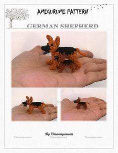 Tiny German sepherd Pattern miniature amigurumi от Vinamigurumi