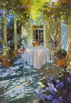 Painting of Laurent Parcelier - it's an amazing world in which there is no sadness, no depression. In it you will not find pictures of gloomy and rainy. Dappled Light, Garden Painting, Art Themes, Light Painting, Light Art, Beautiful Paintings, Painting Inspiration, Lovers Art, Art Pictures