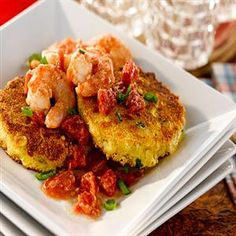 Ancho Shrimp on Smoked Gouda Corncakes - one of my favorites!