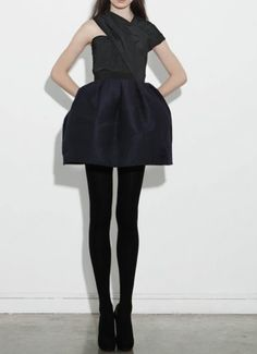Carven // Wear a black or navy dress with opaque tights