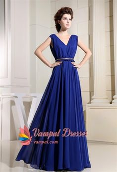Long V-Neck Royal Blue Prom Dress, V Neck Chiffon Bridesmaid Dresses, A-Line Floor Length Bridesmaid Dresses, Royal Blue Chiffon Bridesmaid Dresses. Vampal