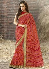 Red Color Georgette Festival & Function Wear Sarees : Selina Collection  YF-43370
