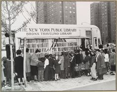 Brooklyn 1950s bookmobile, via @Book Riot