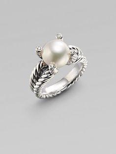 David Yurman White Freshwater Pearl, Diamond & Sterling Silver Ring (to match my earrings) Pearl Ring, Pearl Jewelry, Silver Jewelry, Fine Jewelry, Pearl Diamond, Jewlery, Sapphire Diamond Engagement, Jewelry Accessories, Girly