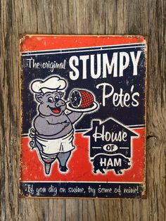 Vintage style tin metal sign // gift for her or him // shabby chic rustic nostalgic wall art // funny pig kitchen decor // man cave blue red by RinTinSignCO on Etsy https://www.etsy.com/listing/266704241/vintage-style-tin-metal-sign-gift-for