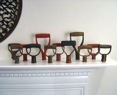 Collection of Vintage shovel handles.