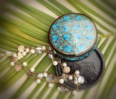"Treasure Box- Handmade 4.1"" Round Papier Mache Jewelry Box/ Trinket Box/ Keepsake in Blue Color - Buy in Bulk Wholesale"