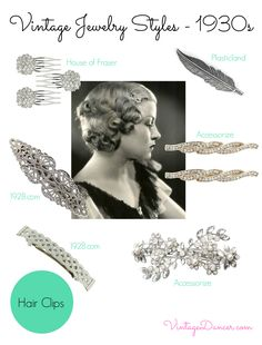 Finish your 1930s hairstyle with one of these beautiful vintage inspired 1930s hair clips or combs. VintageDancer.com/1930s