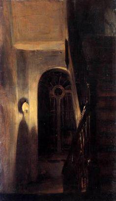 Adolph von (Adolf) Menzel - Staircase with night lighting 1848
