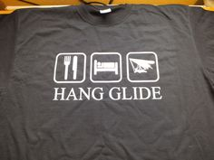 Black fruit of the loom t shirt with eat sleep hang glide on front