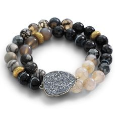 Glisten Up! Ode to Geode Stretch Bracelet #Silpada #druzy