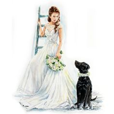 Custom Wedding Dress Portrait/Bridal Portrait/Wedding dress painting/Wedding…