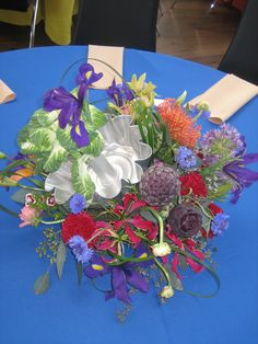 """Uniquely designed theme centerpiece by Buttercup for Laura's """"Food Network"""" Bat Mitzvah at Michener Art Museum"""