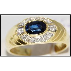 Yellow Gold Natural Diamond Blue Sapphire Solitaire R… Sapphire Solitaire Ring, Blue Sapphire Rings, Sapphire Gemstone, Ruby Rings, Emerald Earrings, Ring Earrings, Cute Jewelry, Jewelry Rings, Stainless Steel Jewelry