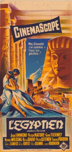 The Egyptian is an American 1954 epic drama film. Filmed in CinemaScope with color by DeLuxe, it was directed by Michael Curtiz. It is based on Mika Waltari's novel of the same name. Leading roles were played by Edmund Purdom, Jean Simmons, Victor Mature, Gene Tierney, Peter Ustinov and Michael Wilding.