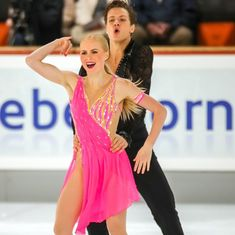 Nikolas Wamsteeker and Haley Sales aim to one day match the gold medal-winning heights reached by their heroes. One Day Match, Virtue And Moir, Figure Skating, Dancers, Skate, Cover Up, Ice, Magic, News