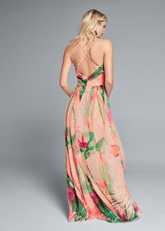 Alternate View Tropical Print Gown Printed Gowns, Formal Dress Shops, Formal Dresses, Tropical, Venus, Party Dress, Unique, Casual, Pink