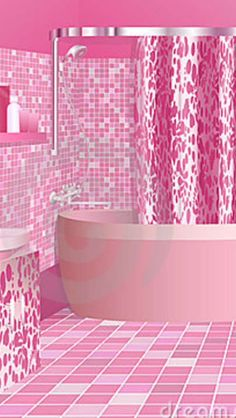 pink bathroom with pink tiles | repinned by www.blucats.com