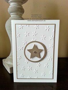 3 kleine Weihnachtskarten mit Sternenkranz grau taupe silber weiß