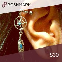 """Dreamcatcher Cartilage Helix Barbell Earring Adorable helix piercing with a silver plated handmade dream catcher charm and turquoise enamel feather. This cutie is a surgical steel, 16g 5/16"""" bar with 4mm Balls. The charm itself is about 1 1/3 inches long. Cuff not included. Handmade Jewelry Earrings"""
