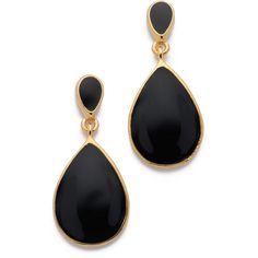 Kenneth Jay Lane Teardrop Earrings ($44) ❤ liked on Polyvore featuring jewelry, earrings, accessories, brinco, black, tear drop earrings, black earrings, black enamel earrings, teardrop shaped earrings and enamel jewelry