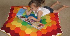 Sew Fantastic: {Tutorial }  Rainbow Hexie Floor Pillow