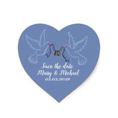 Doves Golden Rings Wedding Heart Stickers Glossy Heart Sticker - save the date gifts personalize diy cyo