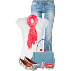 White T-Shirt & Denim Blue Jeans by jaimie-a on Polyvore